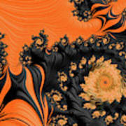 Black And Orange  Swirls Art Print