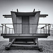 Black And White Lifeguard Stand In Art Print