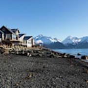 Black Sand Beach In Seward Alaska Art Print