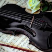 Black Violin On Sheet Music Art Print