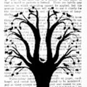 Blackbirds In A Tree - Central Art Print