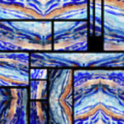 Blue Agate Mosaic Watercolor Collage Art Print