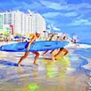 Blue Board Fast Into Ocean Art Print