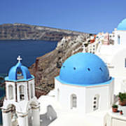 Blue Domes Of Santorini Art Print