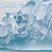 Blue Iceberg Carved By Waves Floats In Art Print