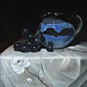 Blue Jar And Dark Purple Grapes Art Print