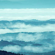 Blue Ridge Mountains Layers Upon Layers In Fog Art Print