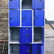 Blue School Lockers Art Print