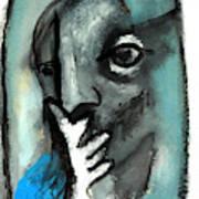 Blue Thinker Art Print