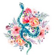 Blue Watercolor Snake In The Flower Garden Art Print
