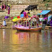Boat And Bank Of The Narmada River, India Art Print