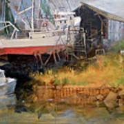 Boat In Drydock Art Print