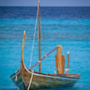 Boat In The Blue Art Print