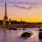 Boat On Seine River, Paris Art Print