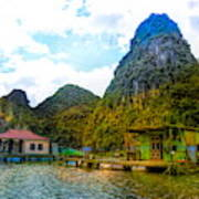 Boat People Homes On Gulf Of Tonkin Ha Long Bay Vietnam Art Print