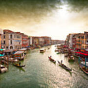 Boats And Gondolas On The Grand Canal Art Print