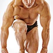 Body Builder Posing On White Background Art Print