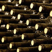 Bottled Red Wine Aging In Wine Cellar Art Print