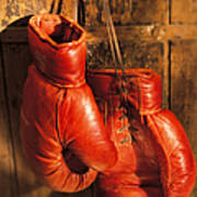 Boxing Gloves Hanging On Rustic Wooden Art Print