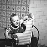 Boy 2-3 Sitting In High Chair,  B&w Art Print