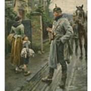 Boy Making A Face At A German Cavalry Art Print