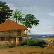 Brazilian Landscape With A Worker   S House  Art Print