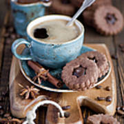 Breakfast Coffee And Chocolate Cookies Art Print