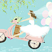 Bride On Scooter Art Print