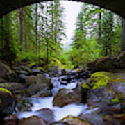 Bridge Below Rainier Art Print