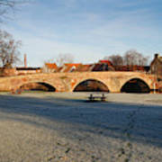 bridge over river Tyne in Haddington in winter Art Print