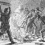 British Soldiers Burning Books In Art Print