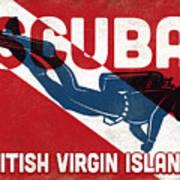 British Virgin Islands Scuba Diver - Blue Retro Art Print