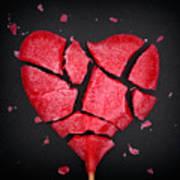 Broken Red Heart Shaped Lollipop Art Print