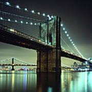 Brooklyn Bridge At Night, New York City Art Print
