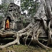 Buddhist Monk At Angkor Wat Temple Art Print