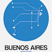 Buenos Aires Blue Subway Map Art Print