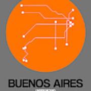 Buenos Aires Orange Subway Map Art Print