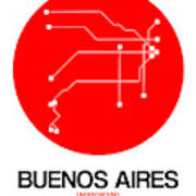 Buenos Aires Red Subway Map Art Print