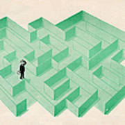 Businessman Trapped In Maze Art Print