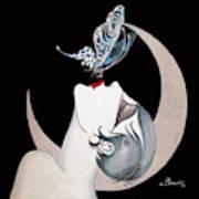 Butterfly Kiss French Art Deco Flapper Woman Art Print