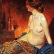 By The Fireside 1910 Art Print