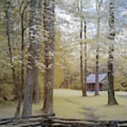 Cabin In The Smoky's Art Print
