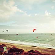 California Tilt Shifted Kite Surfers Art Print