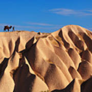Camel And The Cameleer On The Rock Art Print