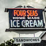 Cape Cod Four Seas Home Made Ice Cream Neon Sign Art Print