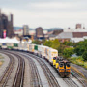 Cargo Train Photographed Using A Art Print