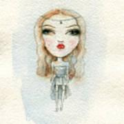 Cartoon Cute Child Girl  . Watercolor Art Print
