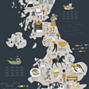 Cartoon Map Of United Kingdom With Art Print