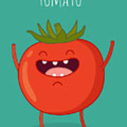 Cartoon Tomato With Eyes And Smiling Art Print