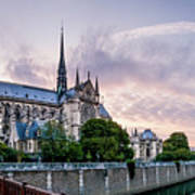 Cathedral Of Notre Dame From The Bridge - Paris France Art Print